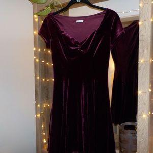 Urban Outfitters Maroon Red Velvet Mini Dress